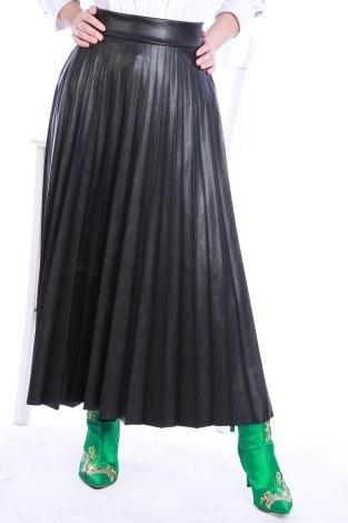 - Piliseli Deri Etek 3570-01 Siyah