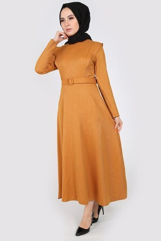 Kemerli Elbise 6330-10 sarı - Thumbnail