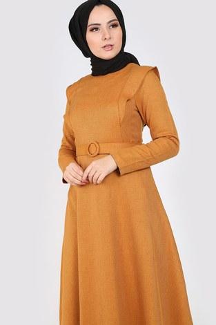 - Kemerli Elbise 6330-10 sarı (1)