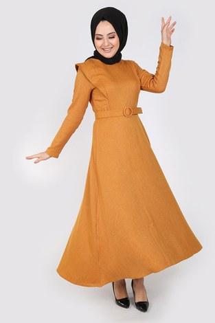 - Kemerli Elbise 6330-10 sarı