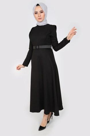 - Kemerli Elbise 6330-01 siyah