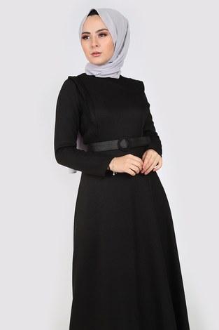 - Kemerli Elbise 6330-01 siyah (1)
