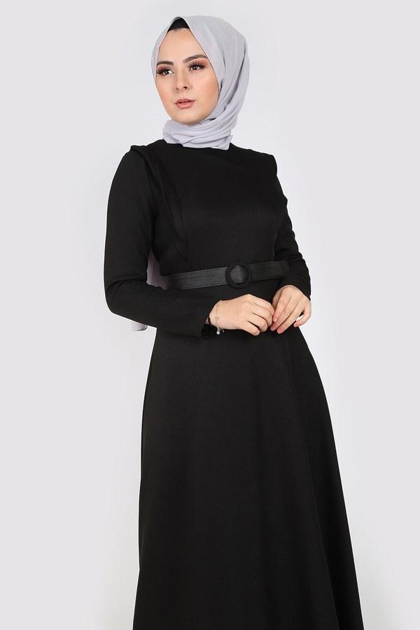 Kemerli Elbise 6330-01 siyah