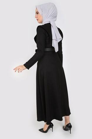 Kemerli Elbise 6330-01 siyah - Thumbnail