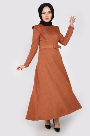 - Kemerli Elbise 6330-16 vizon