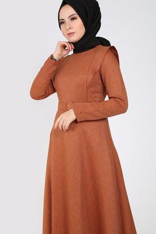 - Kemerli Elbise 6330-16 vizon (1)