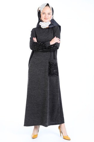 - Pul Payet Detaylı Elbise 2801-21