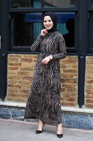 - Zebra Desenli Elbise 8508-386