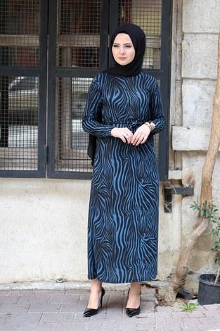 - Zebra Desenli Elbise 8508-387