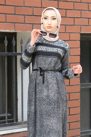 - Etnik Desen Elbise 8841-21 gri (1)