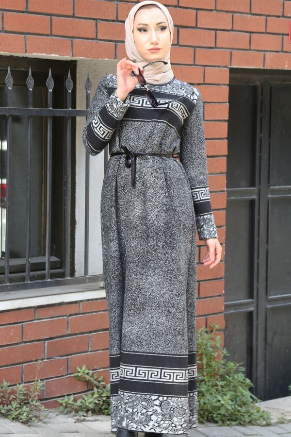 Etnik Desen Elbise 8841-21 gri