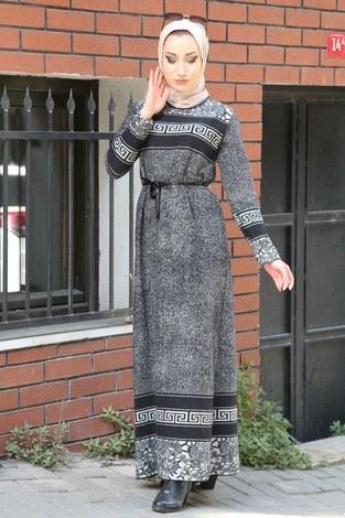 - Etnik Desen Elbise 8841-21 gri