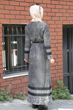 Etnik Desen Elbise 8841-21 gri - Thumbnail