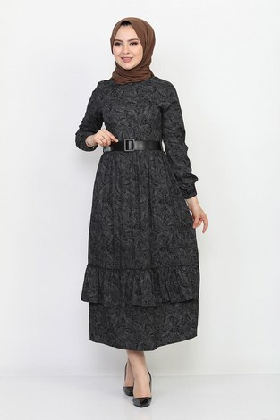 - Kemerli Eteği Fırfırlı Elbise 06042-1