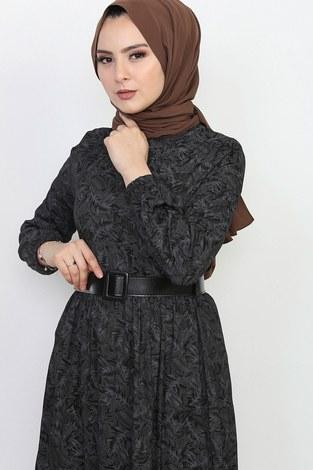 - Kemerli Eteği Fırfırlı Elbise 06042-1 (1)