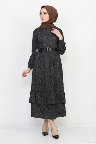 Kemerli Eteği Fırfırlı Elbise 06042-1 - Thumbnail