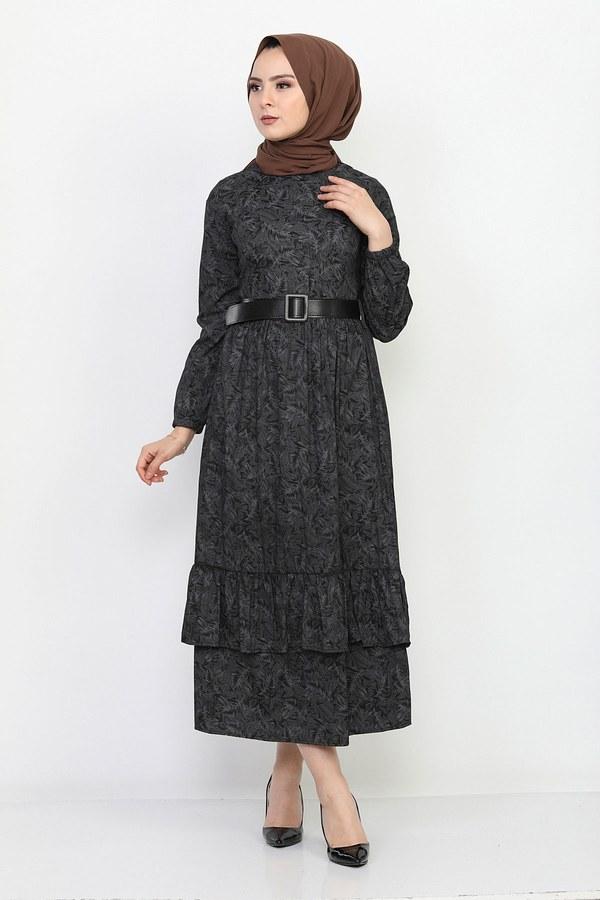 Kemerli Eteği Fırfırlı Elbise 06042-1