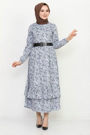 - Kemerli Eteği Fırfırlı Elbise 06042-2