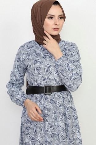 - Kemerli Eteği Fırfırlı Elbise 06042-2 (1)