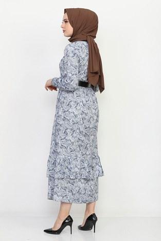 Kemerli Eteği Fırfırlı Elbise 06042-2 - Thumbnail