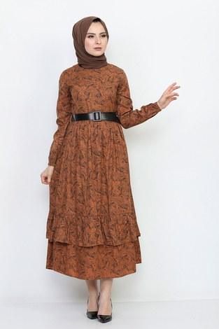 - Kemerli Eteği Fırfırlı Elbise 06042-3