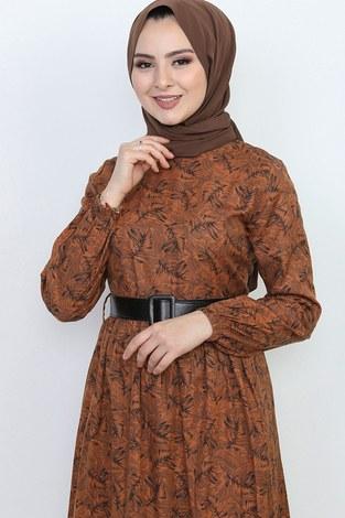 - Kemerli Eteği Fırfırlı Elbise 06042-3 (1)