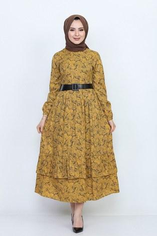 - Kemerli Eteği Fırfırlı Elbise 06042-4
