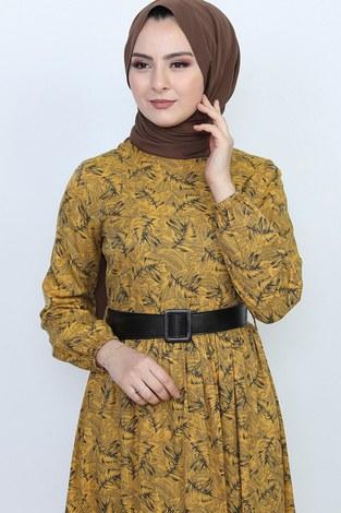 - Kemerli Eteği Fırfırlı Elbise 06042-4 (1)