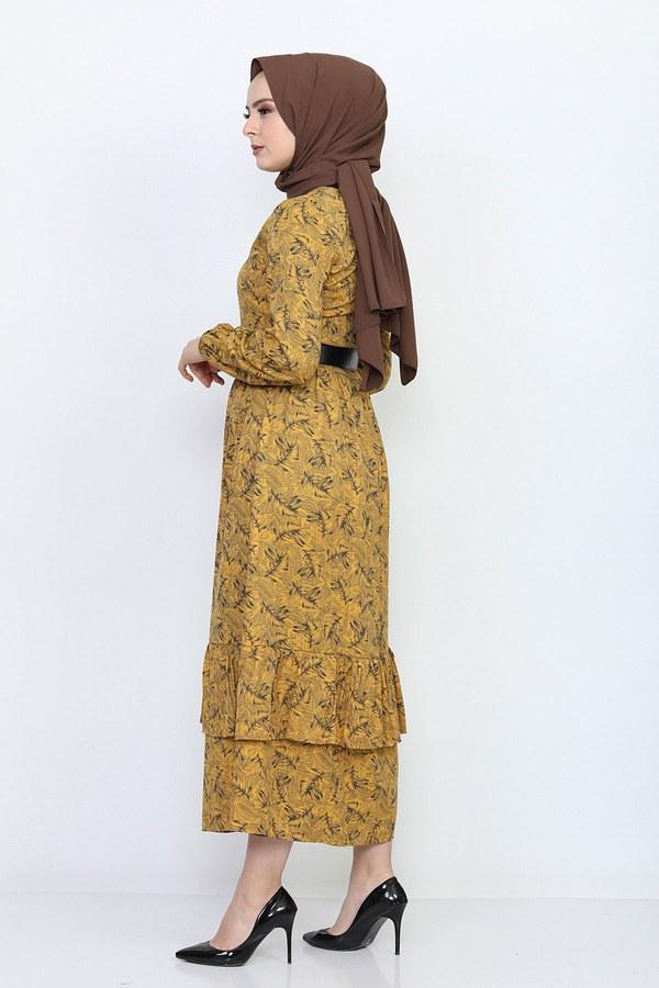 Kemerli Eteği Fırfırlı Elbise 06042-4