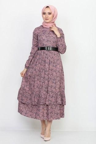 - Kemerli Eteği Fırfırlı Elbise 06042-5