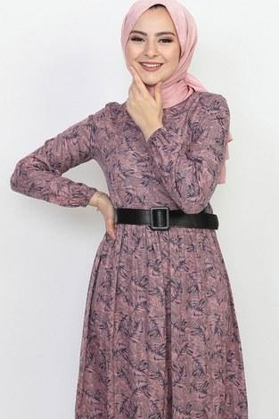 - Kemerli Eteği Fırfırlı Elbise 06042-5 (1)