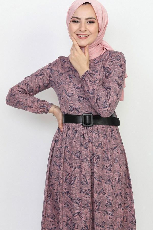 Kemerli Eteği Fırfırlı Elbise 06042-5