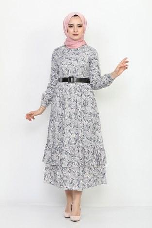 - Kemerli Eteği Fırfırlı Elbise 06042-6