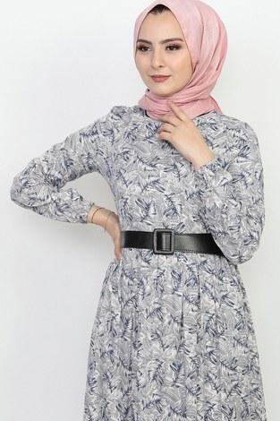 - Kemerli Eteği Fırfırlı Elbise 06042-6 (1)