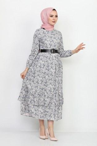 Kemerli Eteği Fırfırlı Elbise 06042-6 - Thumbnail