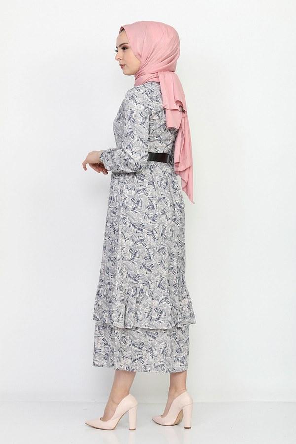 Kemerli Eteği Fırfırlı Elbise 06042-6