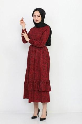 Kemerli Eteği Fırfırlı Elbise 06042-7 - Thumbnail