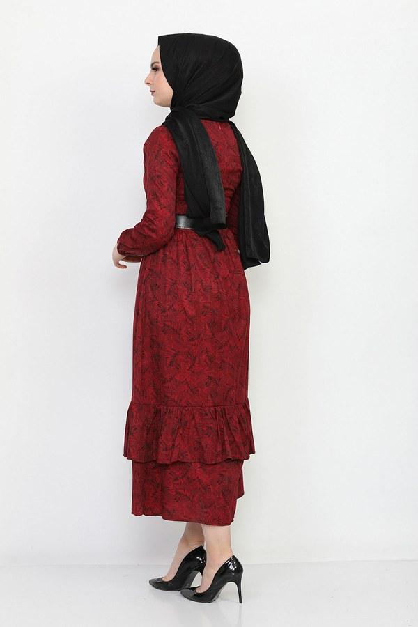 Kemerli Eteği Fırfırlı Elbise 06042-7