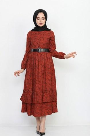 - Kemerli Eteği Fırfırlı Elbise 06042-8