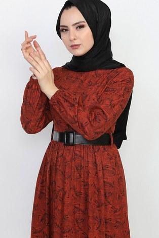 - Kemerli Eteği Fırfırlı Elbise 06042-8 (1)