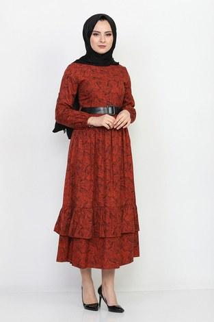 Kemerli Eteği Fırfırlı Elbise 06042-8 - Thumbnail