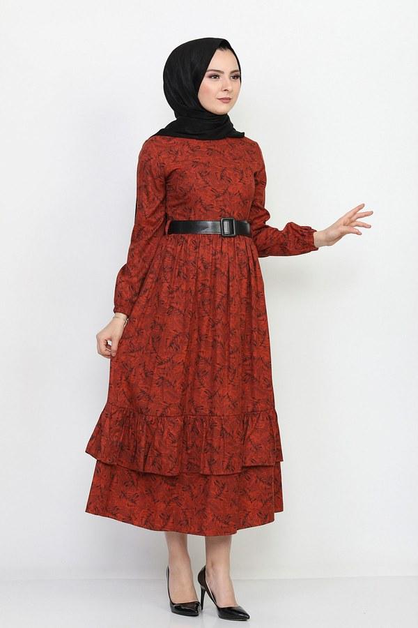 Kemerli Eteği Fırfırlı Elbise 06042-8