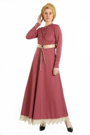 - Kemerli Güpür Detaylı Elbise 1683-02