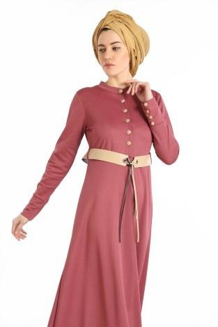 - Kemerli Güpür Detaylı Elbise 1683-02 (1)