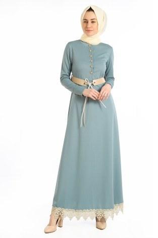 - Kemerli Güpür Detaylı Elbise 1683-05