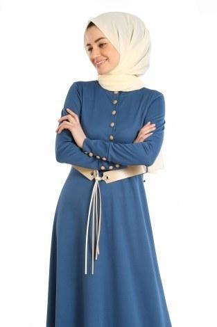 - Kemerli Güpür Detaylı Elbise 1683-07 (1)