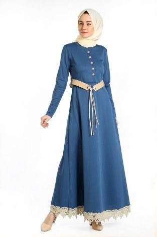 - Kemerli Güpür Detaylı Elbise 1683-07