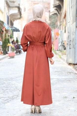 Kemerli Kadife Elbise 2530-15 taba - Thumbnail