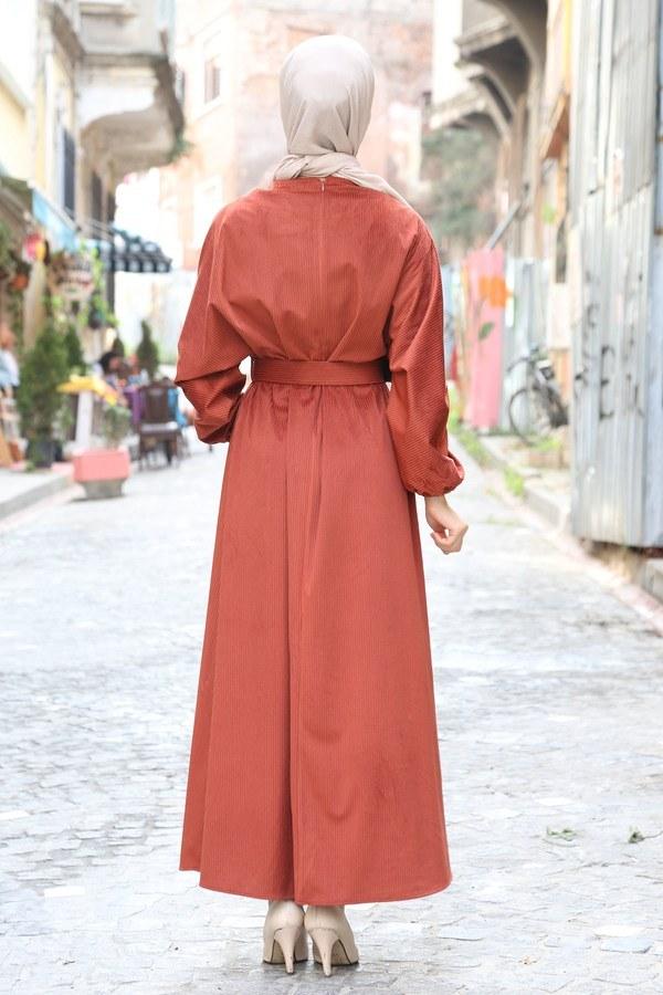 Kemerli Kadife Elbise 2530-15 taba