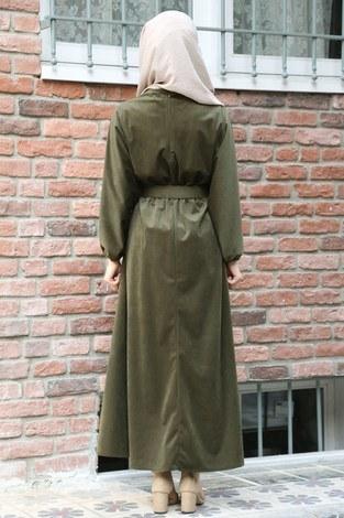 Kemerli Kadife Elbise 2530-04 haki - Thumbnail